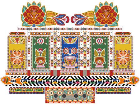 インドのトラック  イラスト・ベクター素材