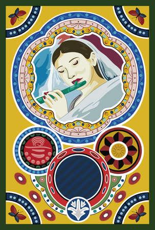 beautyful: Woman playing the flute Illustration