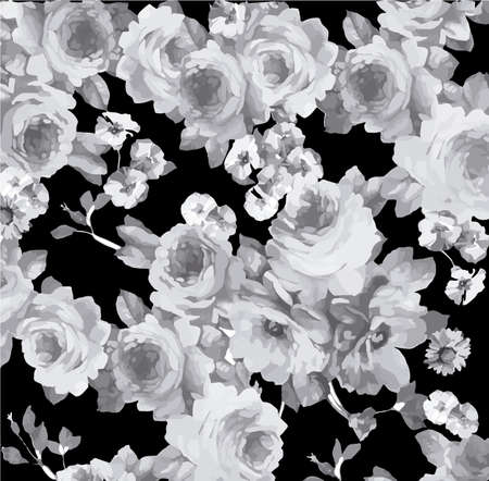 Monochrome vintage floral pattern Иллюстрация