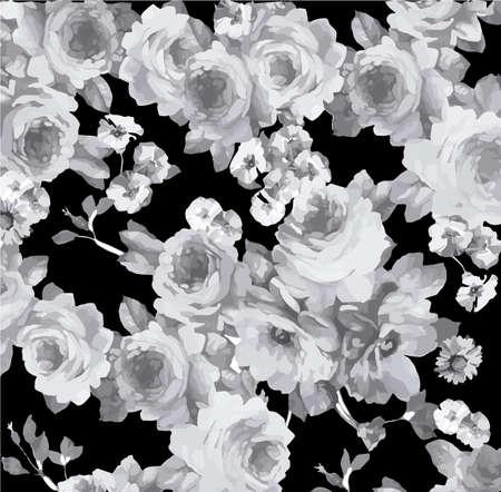 Zwart-wit vintage bloemmotief