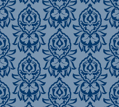 Bloemen Patroon Blauw Damast