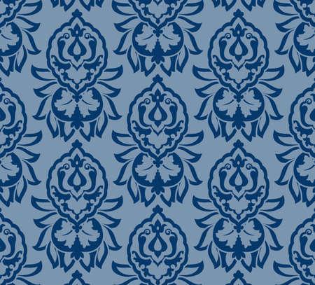 Floral Blue Damask Pattern Иллюстрация