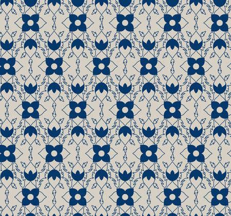 Geometric floral pattern in blue