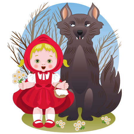 Little red riding hood with the wolf 矢量图像