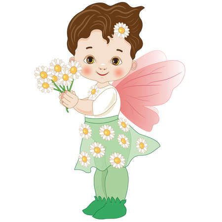 little girl representing the fairy of the daisy flowers Vector illustration.