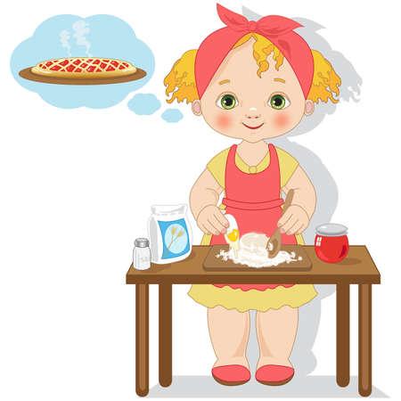 Little girl cooking a cake Illustration