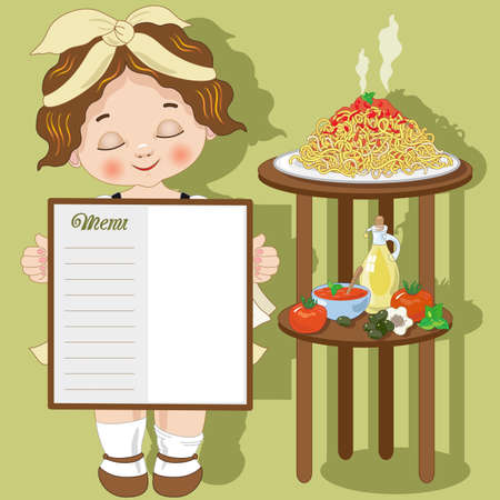 Little girl cook with spaghetti and menu Illustration
