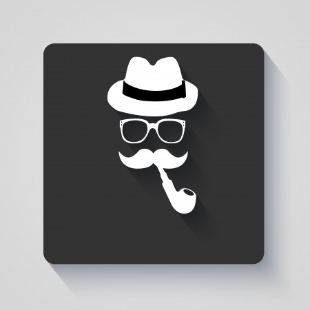 smoking pipe: Moustache with hat, smoking pipe and glasses