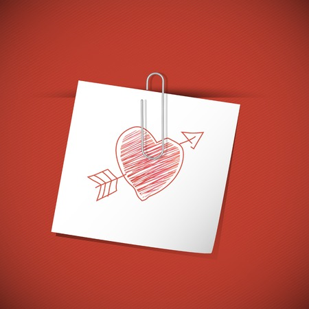 White paper note with clip and red heart on red background Vector