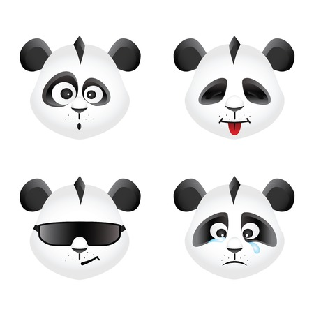 Panda bear emotion icons set, vector design Vector