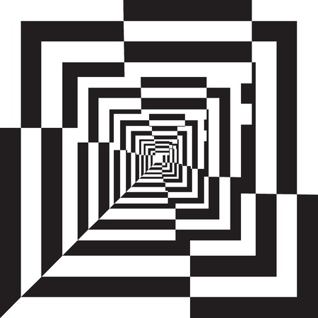 A black and white relief tunnel. Optical illusion. Vector illustration.