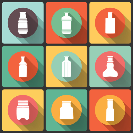 pictogramme: Bottles icon set in Flat Design for Web and Mobile, vectors collection
