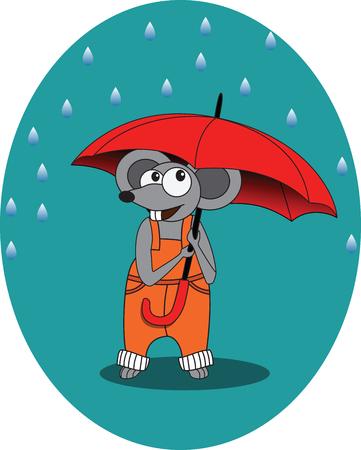 hard rain: Mouse in rain autumn with umbrella Illustration