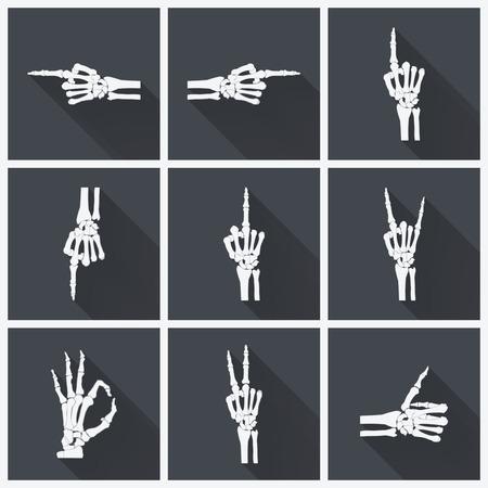 skelett mensch: Aus acht Details Set f�r Design auf Halloween-Tag Illustration