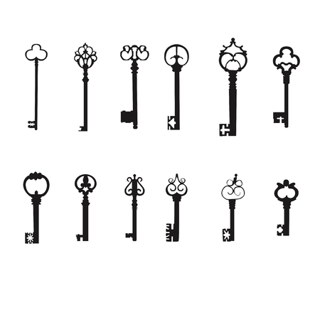 door lock love: Vector keys silhouette  Antique Keys Illustration