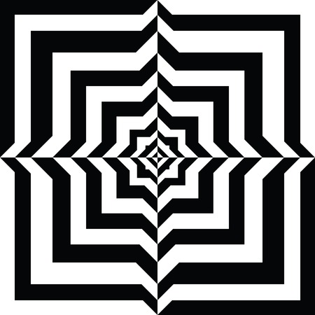 A black and white relief tunnel. Optical illusion. Vector illustration. Vector