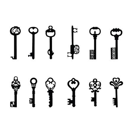 Vector keys silhouette  Antique Keys Vector