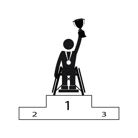 Disable Handicap Sport competition for athletes with disabilities Games Winner Figure Pictogram Icon
