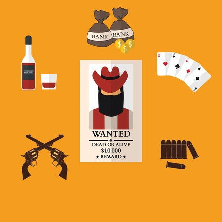 gunman: Wild west cowboy flat icons with gun money bag hat isolated vector illustration