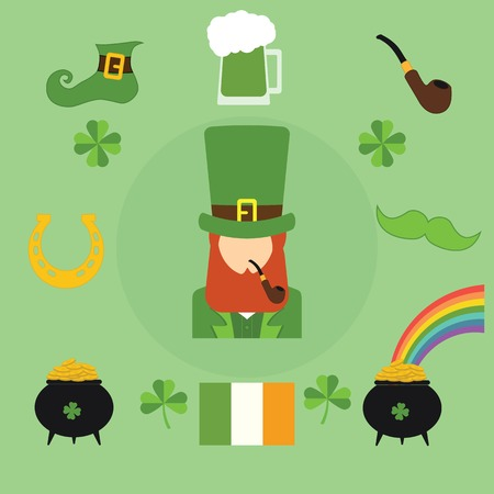 irish symbols: Happy St. Patricks Day vector illustration icons. Traditional irish symbols in modern flat style. Design elements for Irish poster, banner.