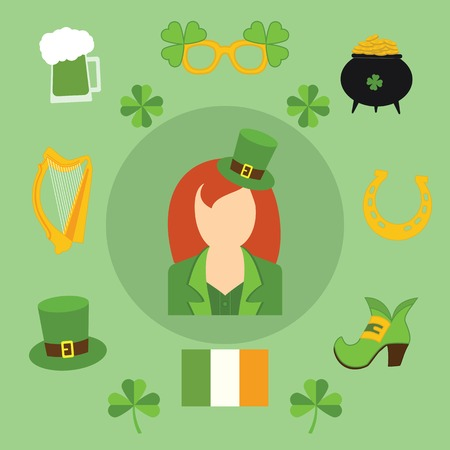 Happy St. Patricks Day vector illustration icons. Traditional irish symbols in modern flat style. Design elements for Irish poster, banner.tricks Day vector illustration icons. Traditional irish symbols in modern flat style. Design elements for Irish post Vector