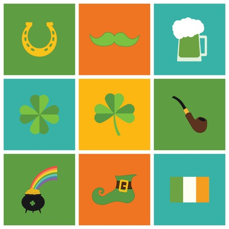 A set of flat design icons for St. Patricks Day, isolated on white. Vector