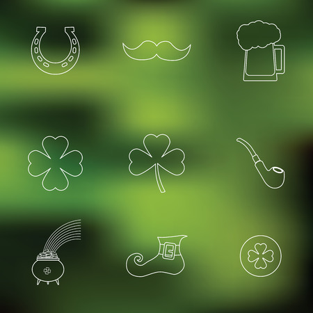 irish symbols: Happy St. Patricks Day vector line Icons on blured background. Traditional irish symbols