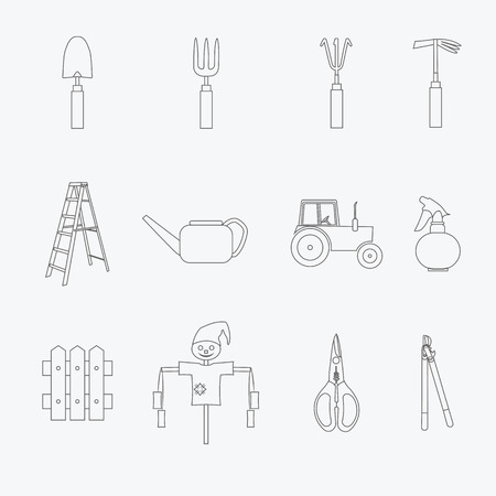 ladder  fence: Gardening tools line icons set. Vector illustration of garden tools. Simple outlined icons. Linear style