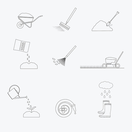 Gardening tools line icons set. Vector illustration of garden tools. Simple outlined icons. Linear style