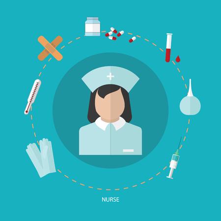 Medical flat icon set with nurse, vector design elements