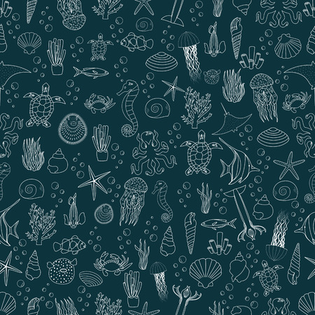 celadon: seamless pattern of sea life, fishes, jellyfish, corals,  seashells and sea plants.