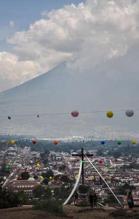 Distant view of the Volcano El Fuego o Acatenango in Antigua, Guatemala Stock Photo