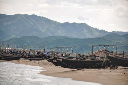 Rare picture of North-Koreas state controlled local fishing fleet close to the city of Hamhung