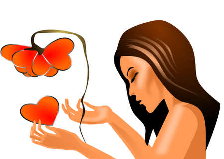 longhaired: Love does not love  illustration of a woman with flower petals from the heart.