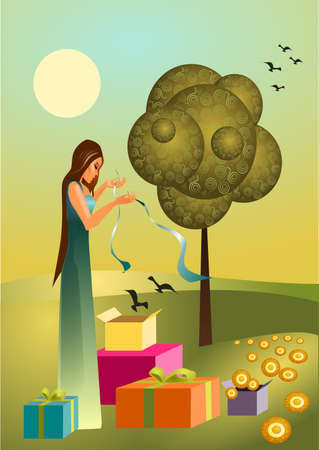 early in the evening: Spring   illustration of a spring with spring gifts,