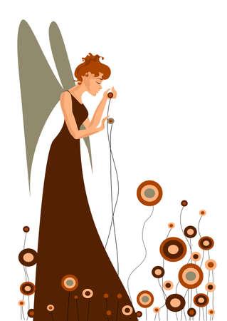 Ilustración de Ángel con flores.
