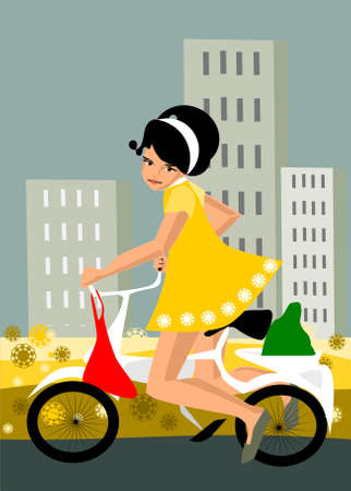 illustration showing a girl on a bike.  Vector