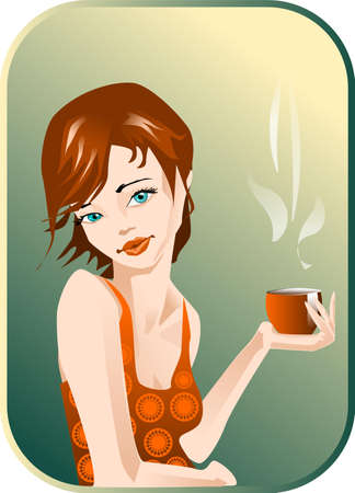 siesta: illustration of a woman with a cup of coffee.