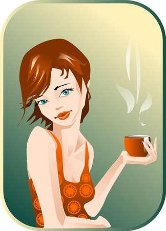 siesta: illustrazione di una donna con una tazza di caff�.