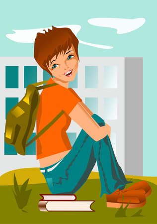 student. illustration of a student relaxing on a school playground. Vecteurs