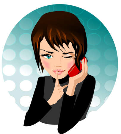 telephony: telephone conversation. Illustration of a girl talking on a mobile phone.