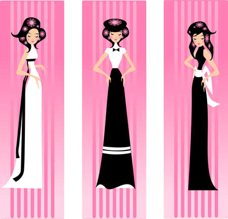Illustration of three women in dresses on a pink background.
