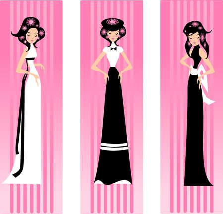 Ilustraci�n de tres mujeres en vestidos en un fondo de color rosado.