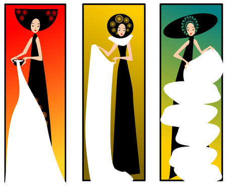 three lady. Illustration of three women in dresses on a colours background.