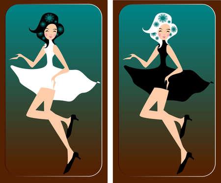 robe noire: deux danseurs. Illustration de deux danseurs en robe blanche et noire.