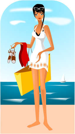 Illustration of a woman in a white dress on the beach.