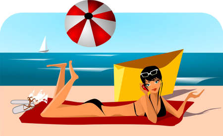 vacation.Illustration of a woman in a white dress on the beach. Vector