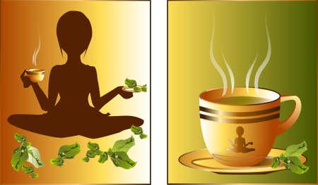 green tea. Illustration of a cup of green tea.  Vector