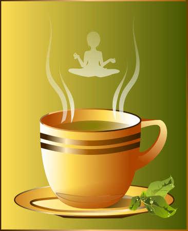 green tea.  illustration of a cup of hot green tea.  Vector