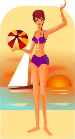 siesta: Illustrazione della donna sulla spiaggia. Vettoriali